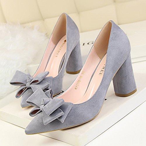 Xue Qiqi Einfach Einfach Einfach und süß Damen Schuhe High Heels rund und dick mit high-heeled Licht Düsenspitze satin Bow Tie einzelne Schuhe 0aabf1