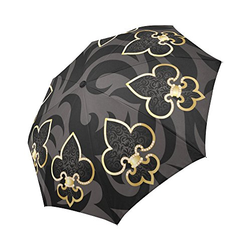 InterestPrint Fleur De Lis Floral Art Windproof Automatic Open And Close Foldable Umbrella, Travel Compact Unbreakable Rain And Sun Umbrella