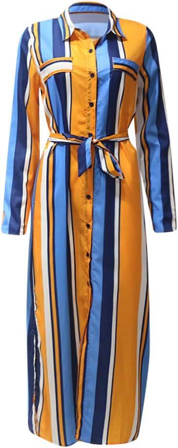 FRAUIT damska sukienka w paski, sukienka maxi, długa sukienka z odwrÓconymi rękawami, z dekoltem w kształcie litery V, elegancka długa sukienka z bluzką, sukienka gÓrna, S-2XL: Odzież
