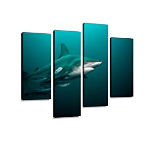 Pelagic Blacktip Shark in Open Water Canvas Wall Art Hanging Paintings Modern Artwork Abstract Picture Prints Home Decoration Gift Unique Designed Framed 4 Panel