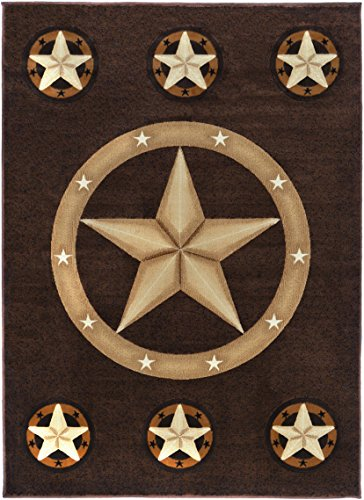 Rugs 4 Less Collection Texas Lone Star State Novelty Area Rug R4L 78 Chocolate / Brown (8'x10') by Rugs 4 Less