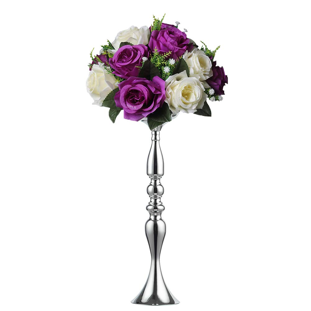 3 Colors!7 Sizes Height Metal Candle Holder Candle Stand Wedding Centerpiece Event Road Lead Flower Rack (50 cm, Silver)