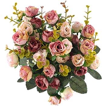 Samyo 21 Heads Artificial Silk Rose Dried Flowers Flower Arrangement Fake Bouquet Wedding Home Floral Decor - Pack of 2 (Pink & coffee)