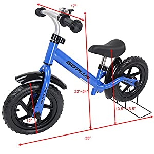 "Goplus 12"" Kids Balance Bike No-Pedal Learn To Ride Pre Bike Push Walking Bicycle Adjustable Height with Bell Ring and Stand (Blue (with splasher))"
