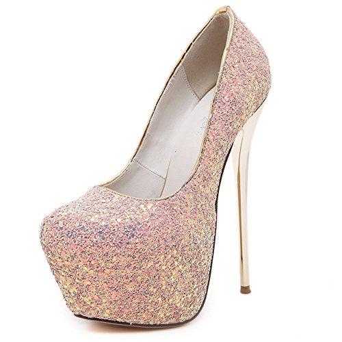 AdeeSu Womens Bridal Platform Studded Urethane Pumps Shoes Pink