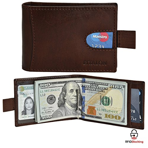 Secure Tan Leather - RFID Leather Bifold Wallets for Men - Slim Front Pocket Secure Credit Card Holder with ID Window Mens Wallet Gift Box (4.25x3.5x0.75, Dark Tan Money Clip)