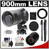 Polaroid 900mm f/8 Mirror Lens and 2x Teleconverter (= 1800mm) with 67-inch Monopod + Accessory Kit for Canon EOS 60D, 7D, 5D Mark II III, Rebel T3, T3i, T4i Digital SLR Cameras, Best Gadgets