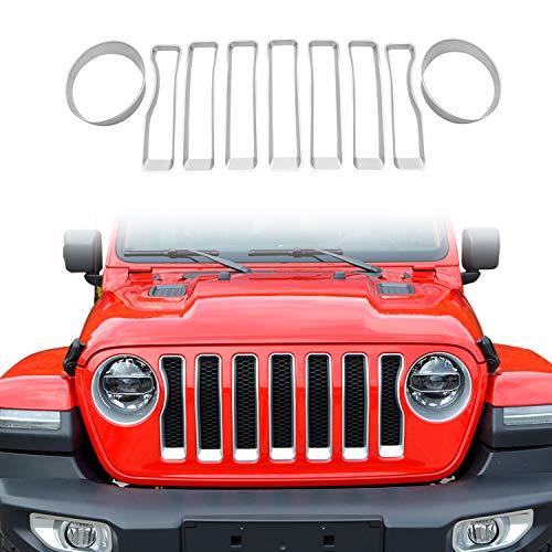 cartaoo Front Grille Inserts Compatible with 2018 Jeep Wrangler JL-(7PCS),Free Get 1 Pair Jeep Headlights Cover for Wrangler JL (Silver)