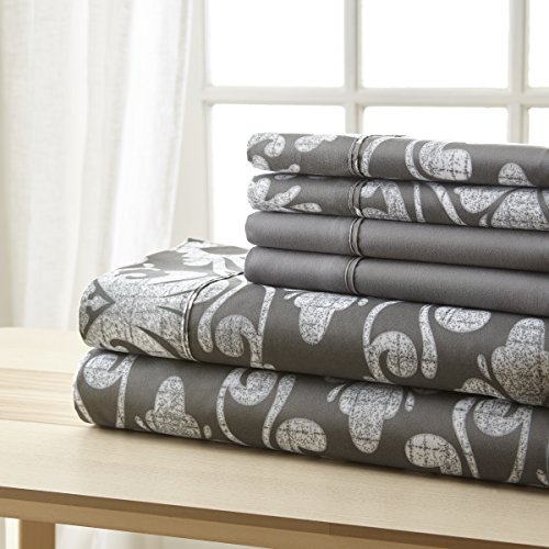 SPIRIT LINEN HOME 6 Piece Bellagio Home Collection Sheet Set, King Grey Damask