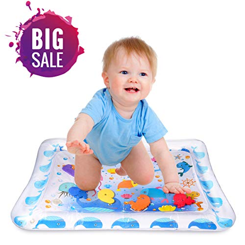 (Inflatable Tummy Time Premium Water Mat, Infants & Toddlers Perfect Fun Time Play Activity Center for Your Baby's Stimulation Growth)