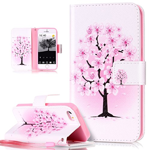 iPhone 5S Case,iPhone 5 Case,iPhone SE Case,ikasus Colorful Art Painted PU Leather Fold Flip Wallet Cover Stand Card Slot Protective Case Cover for Apple iPhone 5S 5 SE,White Pink Cherry Blossoms (Cherry Cover Phone)