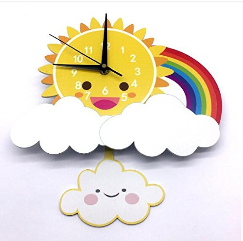 INS Sun Rainbow Wall Clock Wall Background Cartoon Wall Bell Slient quartz clock (5) by Sportskindom (Image #8)