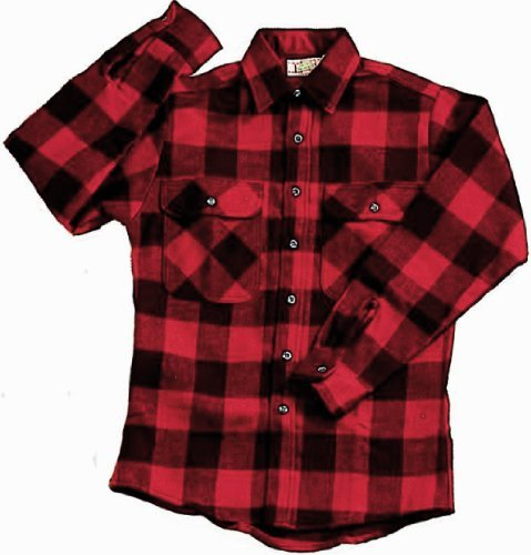 Brawny Flannel Shirt - EXTRA HEAVYWEIGHT BRAWNY FLANNEL SHIRT - RED/BLACK LARGE