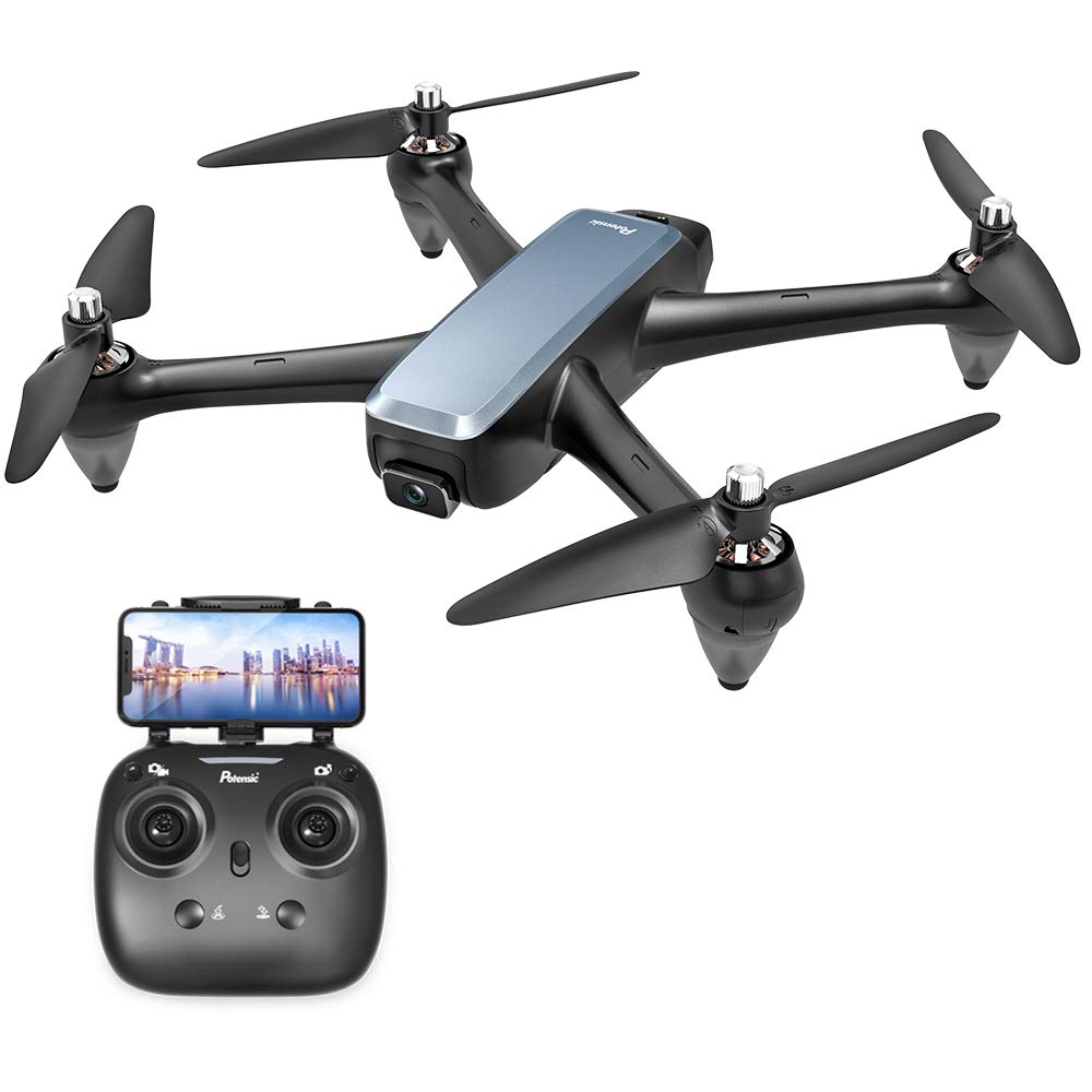 Brushless GPS FPV RC Drone, Potensic D60 Drone with 1080P Camera Live Video and GPS Return Home, RC Quadcopter for Adults with Strong Brushless Motors, Follow Me and 5G WiFi Transmission