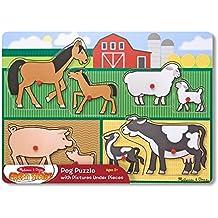 Melissa & Doug Mother and Baby Farm Animal Families Wooden Peg Puzzle (8 pcs)