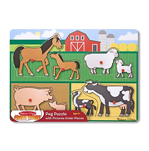 Melissa & Doug Mother and Baby Farm Animal Families Wooden Peg Puzzle (8 pcs) (Farm Family Play)