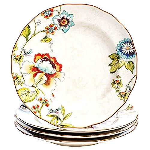 Belle Dinnerware (222 Fifth Bella Vista Floral Blooms Dinner Plates (Set of 4) 10.5