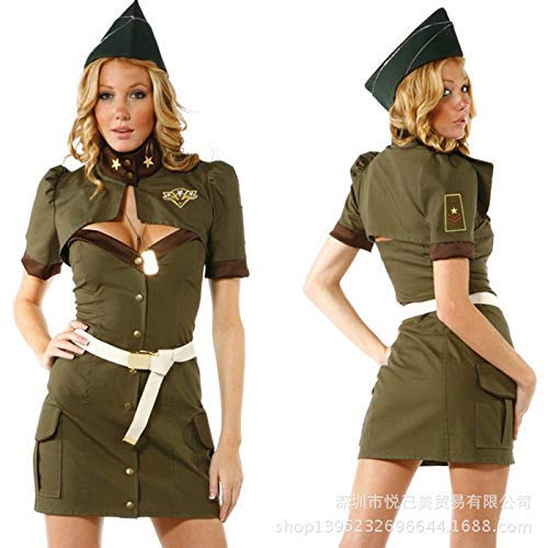 Cosplay Halloween Uniform Army Green Spy Costume Policewoman Costume Stewardess Sailor Game Suit with Masquerade Accessories ()