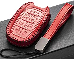 Vitodeco Genuine Leather Smart Key Fob Case Cover Protector with Leather Key Chain for 2017-2021 Chrysler Pacifica 7-Button, Black