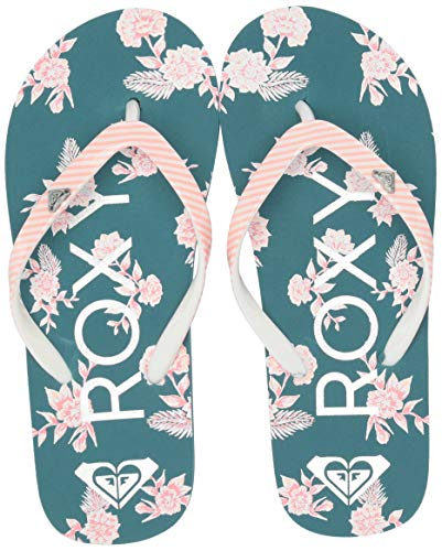 Roxy Girls' RG Pebbles Flip Flop Sandal, Grey/Blue Combo, 4 M US Big Kid