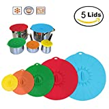 Silicone Lids Microwave Cover, Set of 5 Food Storage Suction Lid,...