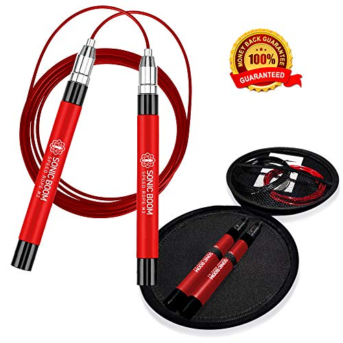 Epitomie Fitness Sonic Boom M2 with Hard Carry Case - High Speed Jump Rope with Patent Pending Self-Locking, Screw-Free Design - Weighted, 360 Degree Spin, Silicone Grip with 2 Speed Rope Cables
