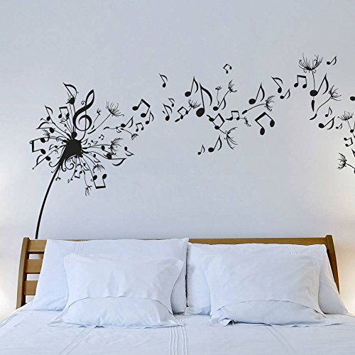 Wall Decal Vinyl Sticker Decals Art Decor Design Dandelion Music Note Nature Plants Botanic Grass Forest Bedroom Living Room Nursery (r640)