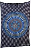 Amitus Exports TM Premium Quality 1 X Dome Parrot Mandala Tapestry Wall hanging 81''X53''(Approx.) Inches Blue Color Twin Size Cotton Fabric Tapestry Hippy Indian Mandala Throws (Handmade In India)