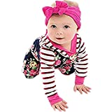 NUWFOR Infant Baby Boys Long Sleeve Floral Striped Print Romper Jumpsuit Hoodie Clothes(Navy,0-3 Months