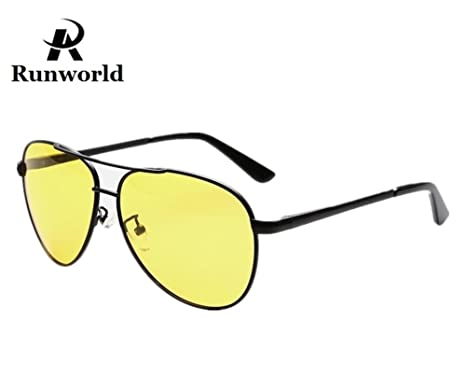 38050aaf86abeb Runworld Mens HD Night View Driving Glasses Yellow Polarized UV400 Aviator  Anti-glare Rain Day