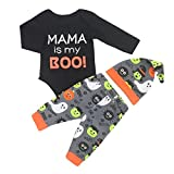SUNTEAMO 3PCS Toddler Baby Letter Print Romper+ Cartoon Print Pants+Hat Set Outfit (Black, 90)