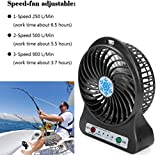 Makaor Mini Fan,Portable Rechargeable LED Light Fan Air Cooler Mini Desk USB 18650 Battery Fan (Black, Side:14cmx 10.6cmx 4.2cm)