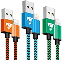Câble iPhone [2m/Lot de 3] Lightning Chargeur Cable Certifié MFi Nylon Tressé Connecteur Ultra Résistant USB Charge...