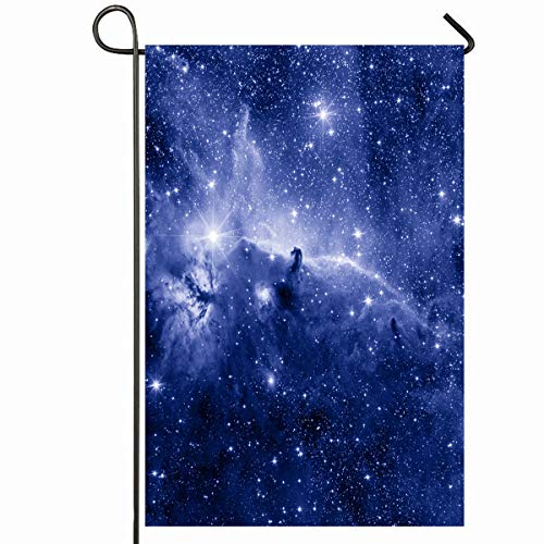 (Ahawoso Outdoor Garden Flag 12x18 Inches Galaxy Space Horse Head Nebula Blue Color Nature Spiral Star Science Sky Planet Night Universe Design Seasonal Home Decorative House Yard Sign)