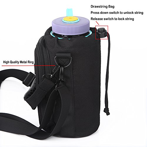 Insulated Water Bottle Holder With Detachable Adjustable Shoulder Strap,32 oz Bottle Carrier Bag With Cell Phone Pouch for Daily walking,Biking,Hiking,Travel,and Outdoor Sport Events(Exclude Bottle) by OYATON (Image #4)