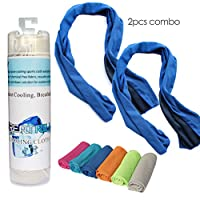 "Creatrill 2 pcs Cooling Towel Combo - 40"" long instant cooling towel for travel camping gym, icy cool snap towel for yoga tennis running, chill ice fitness towel for Golf Biking Hiking"