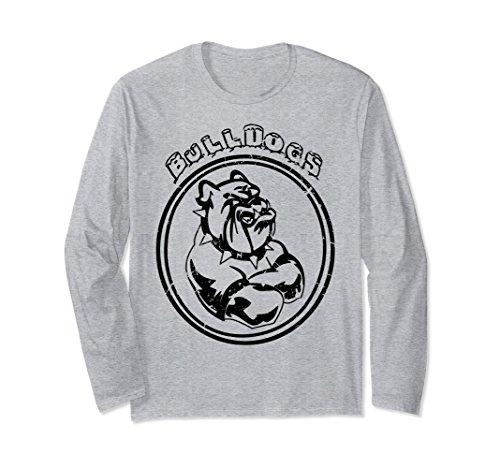 Unisex Bulldog Sports Team Graphic Vintage Long Sleeve Tshirt 2XL Heather Grey (Vintage Sports Team T-shirts)