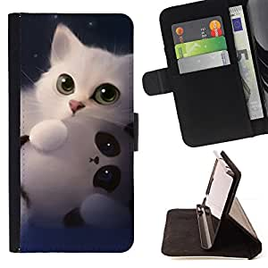 For Samsung Galaxy S5 V SM-G900 Panda Cute Kitten White Sweet Style PU Leather Case Wallet Flip Stand Flap Closure Cover