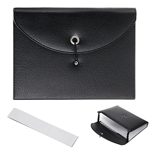 BTSKY PU Leather Expanding File Folders-13 Pockets A4 Letter Size Paper File Folder Accordion Business Document Organizer with Fasteners and Tabs (Black)