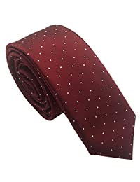 Mens Classic Skinny Tie 6cm/2.4'' New Fashion Woven Silk Neckties (Burgundy and Small White Dots)