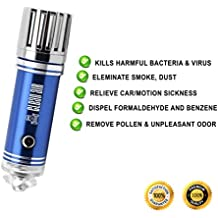 Improved Car Air Purifier, Ionizer, & Air Freshener by Clean Air: Destroys Odors & Removes Pollen, Smoke, Smell and Dust | Durable Premium Quality | Portable Ionic Air Cleaner | Ideal Gift (Blue)