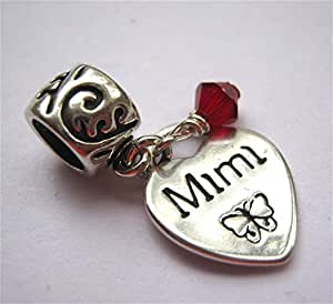 Mimi Heart Ruby Crystal July Birthstone Small Sterling Silver Dangle Family Charm