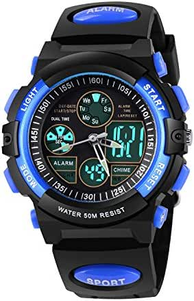 AZLAND Outdoors Sports Waterproof Digital Boys Watch Kids with Dual-Time/Chronograph/Alarm/Week/Date Multi Functions