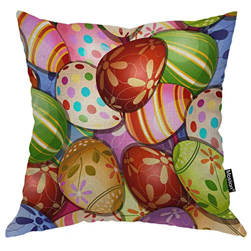 Moslion Easter Pillow Case Colorful Eggs Flowers Leaves Polka Dot Circles On Eggshell Pillow Cover Decorative Square Cushion Accent Cotton Linen 18x18 Inch for Christmas Sofa Chair