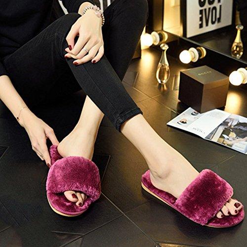 ACTLATI Soft Women Pregnant Home Shoes Warm Plush Anti-slip Winter House Slippers Grey NELO3JsIHe