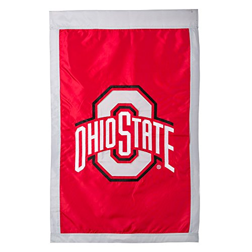 Appliqued Polyester State Flags - Ohio State Buckeyes Official NCAA 29 inch x 43 inch Suede Reflections House Flag