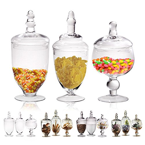 Glass Apothecary Jars with Lids, Set of 3 Kitchen Canisters, Bathroom Organizers, Candy Buffet, Decorative Storage, Party and Wedding Centerpiece