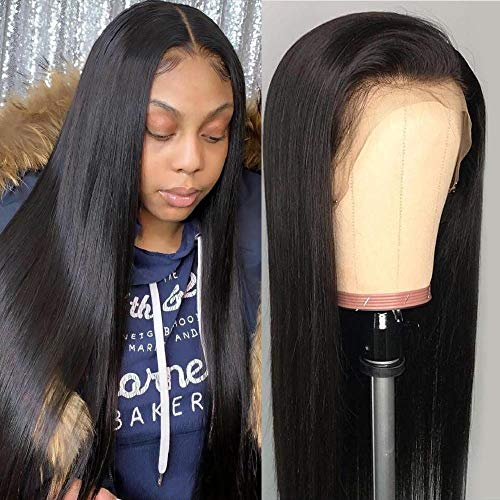 Uneed Hair Lace Front Human Hair Wigs (26inch,150% Density) Straight Lace Front Wig Glueless Lace Front Wigs Human Hair with Baby Hair Pre Plucked Unprocessed Virgin Brazilian Hair Natural Black (Best Lace Wig Websites)