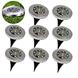Solar Ground Lights - 8 LED Waterproof Garden Path Outdoor Lighting with Light Sensor for Lawn Patio Yard Walking Driveway (Warm White, 8 Pack)