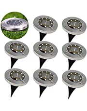 Mcgrady1xm Solar Ground Lights - 8 LED Waterproof Garden Path Outdoor Lighting with Light Sensor for Lawn Patio Yard Walking Driveway (Warm White, 8 Pack)